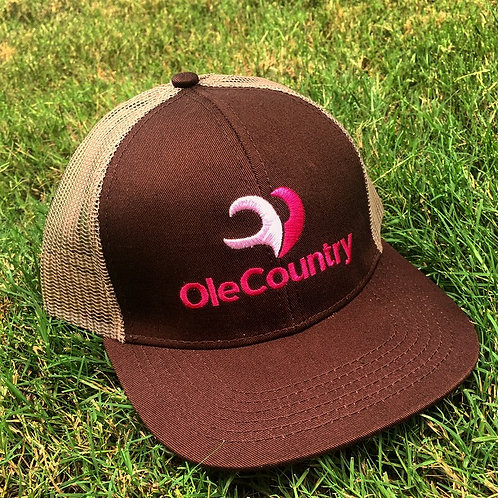 Trucker Hat Brown- Light,Dark Pink