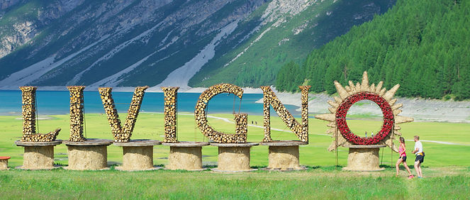 Welcome sign for village of Livigno, nea