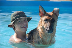 Brandon& Jozie in the pool