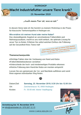 Ernährungs-Workshop am 23.11.19