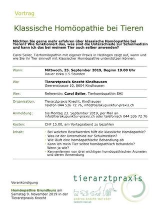 Infoabend Tierhomöopathie