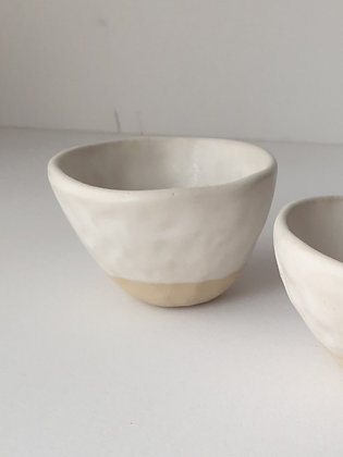 Stoneware cup with oatmeal white glaze