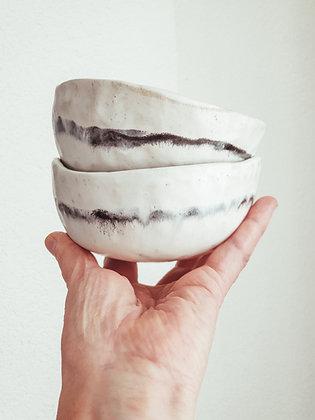 Set of 2 white glazed Inku bowls - handmade w Oatmeal glaze & ink stripe