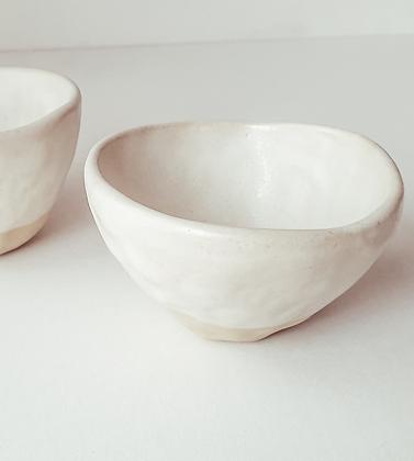 Handmade stoneware cup   oatmeal white glaze