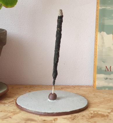 Handmade ceramic incense holder - Oatmeal white glaze