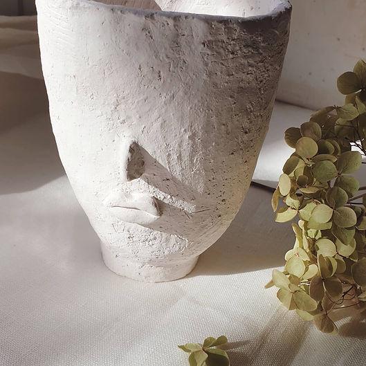handmade ceramic vase face sculpture plant tealight candle holder