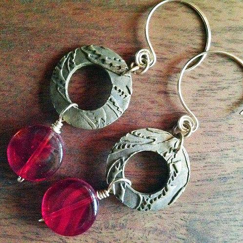 Bronze round earrings