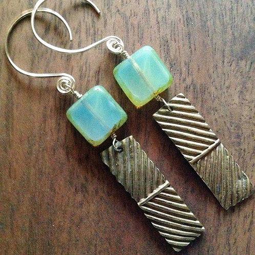 Bronze rectangle earrings
