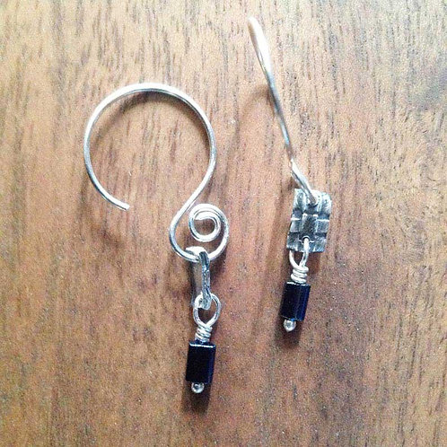 Silver Woven with Dark Blue Bead
