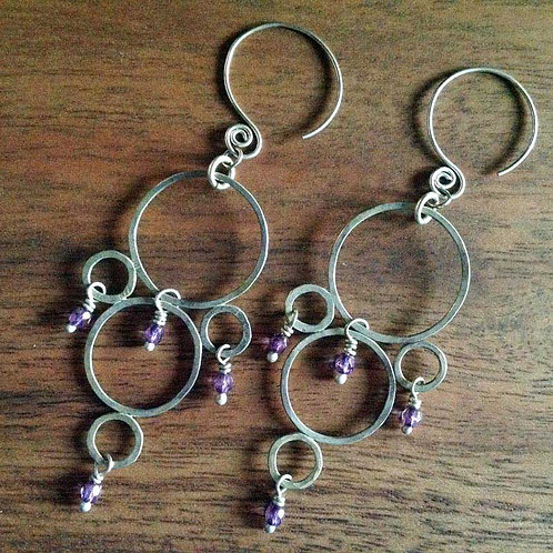 Silver multi-circle purple earrings