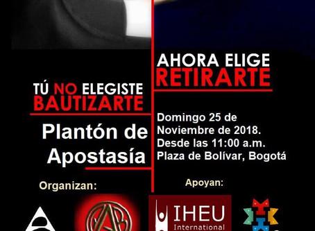 HAFree apoyó la jornada de apostasía, en Bogotá Colombia.