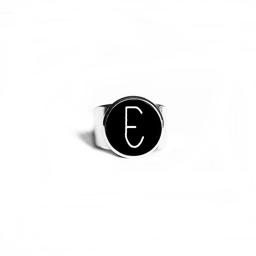 Ring: Adjustable Glass Cabochon 'E'