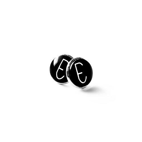 Earrings: Empathy Test 'E' Glass CabochonPin