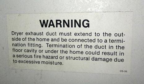 Dryer Exhaust Warning