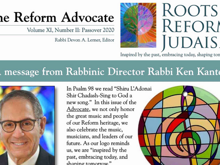 Reform Advocate: Spring 2020 Edition is Now Available
