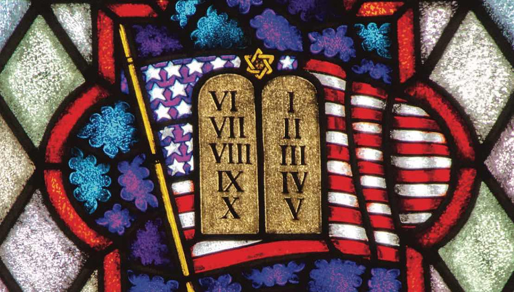 Stained Glass Window with American Flag and Ten Commandments