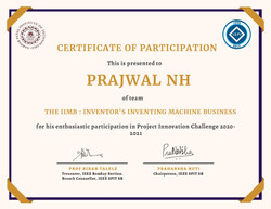 Prajwal NH qualified for the second round of Project Innovation Challenge!