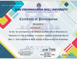Participation Certificate of SVSU panel discussion on Education