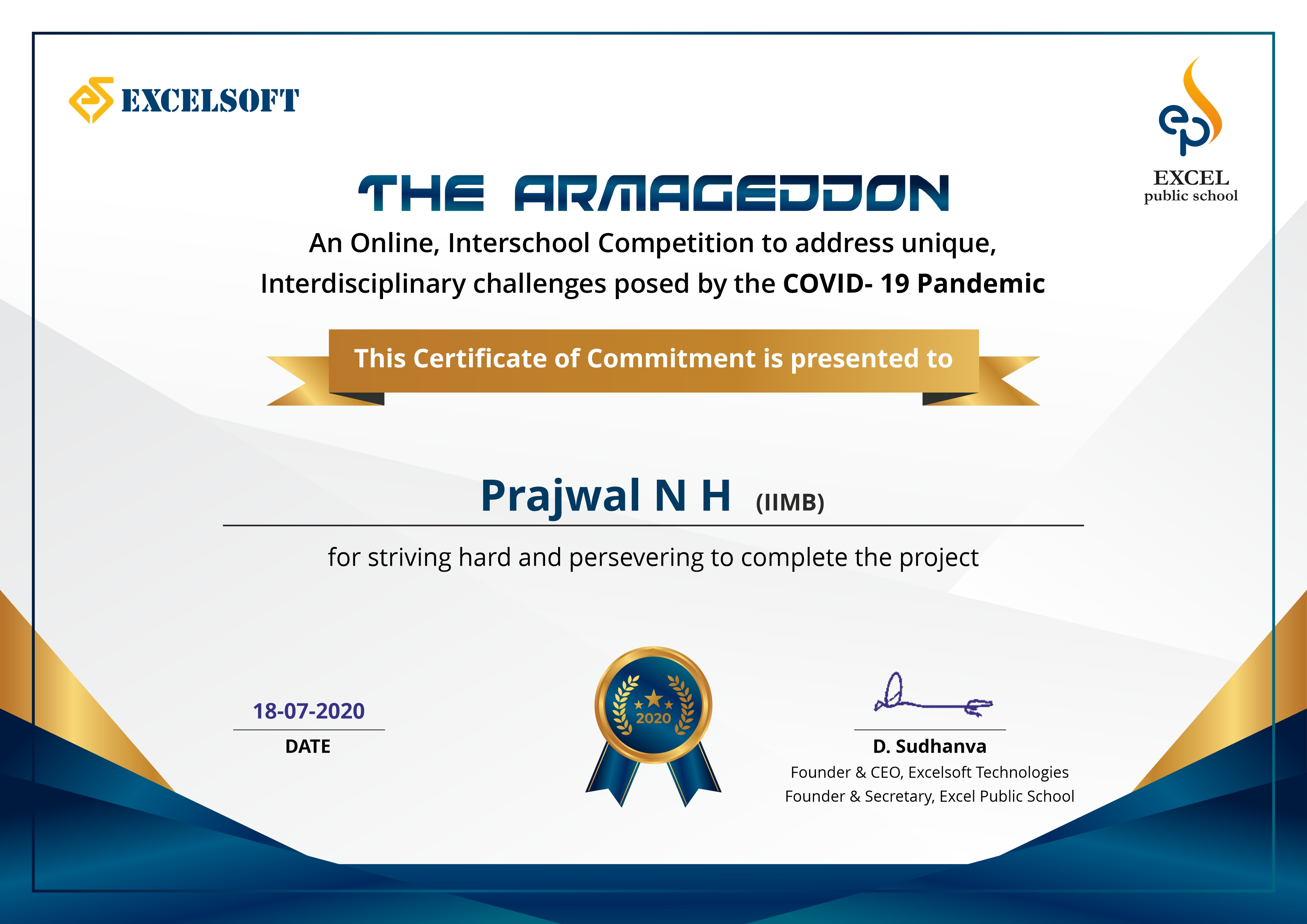 Participation Certificate for The Armageddon