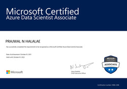 Cracked the DP 100 Azure Data Scientist Certification Exam at the Age of 14 years.