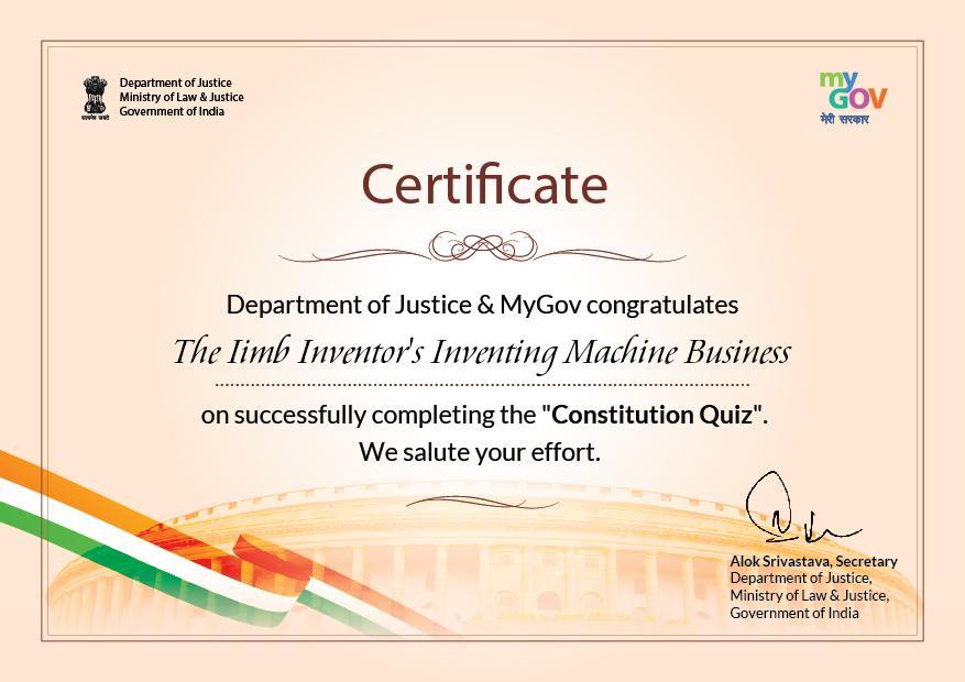 Constitution Quiz Certificate