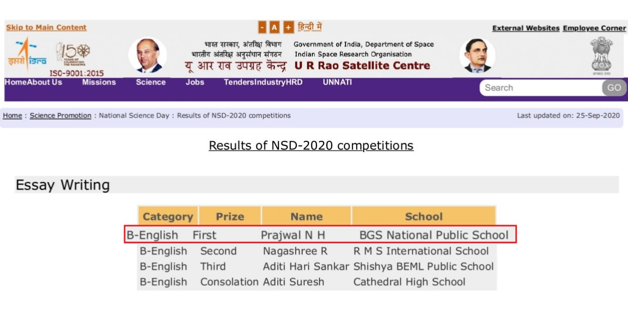Won First Prize in Essay Writing Competition organized URSC celebrating NSD-2020