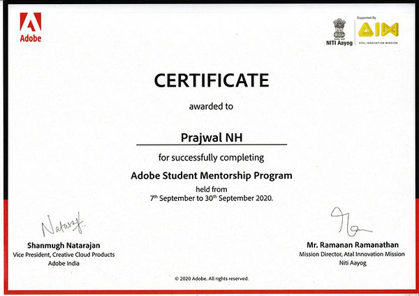 Successfully completed Adobe Student mentorship program 2020