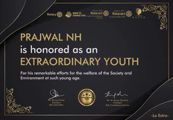 """Honored as """"EXTRAORDINARY YOUTH """" by Rotaract Club of Delhi Elite & Rotaract Club of Coimbatore Cosm"""