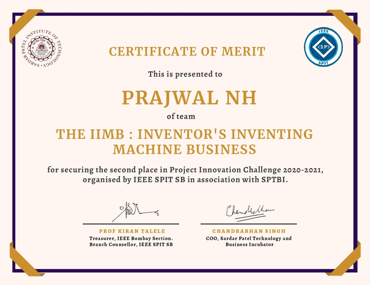 "won second prize in the National level ""Project Innovation Challenge"" organized by IEEE Sardar Patel"