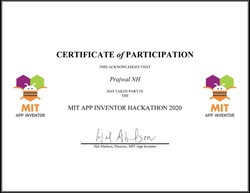 Participation Certificate of MIT App Inventor Hackathon 2020