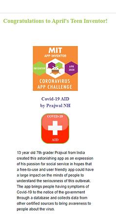 COVID-19 App teen winner webpage.png