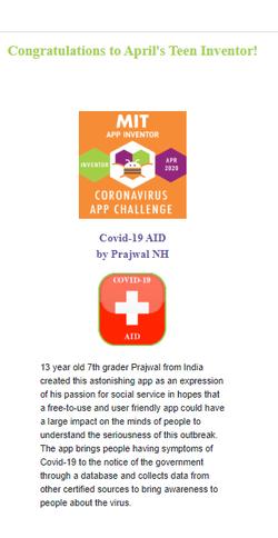 COVID-19 App teen winner webpage