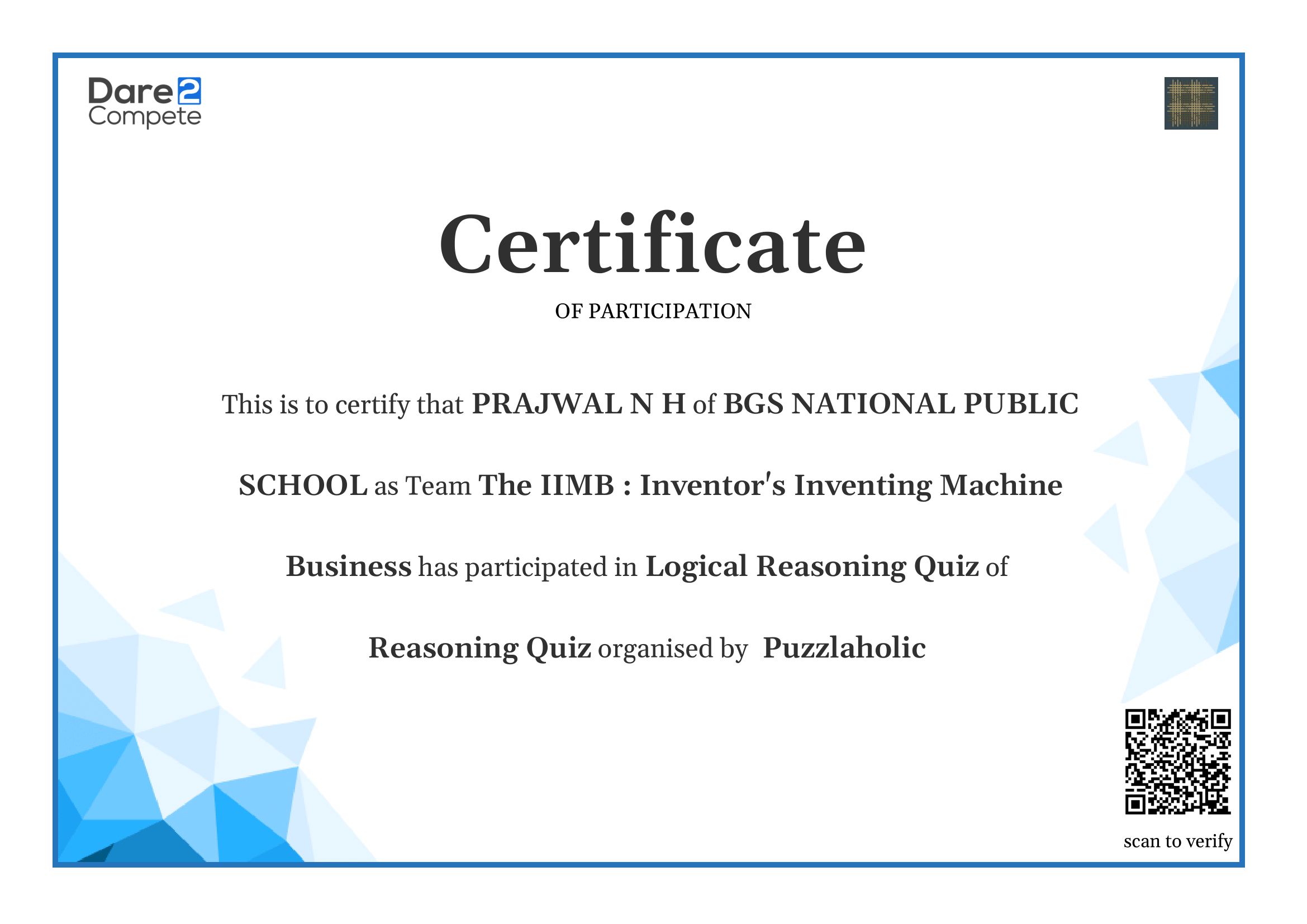 Participation Certificate for logical reasoning quiz