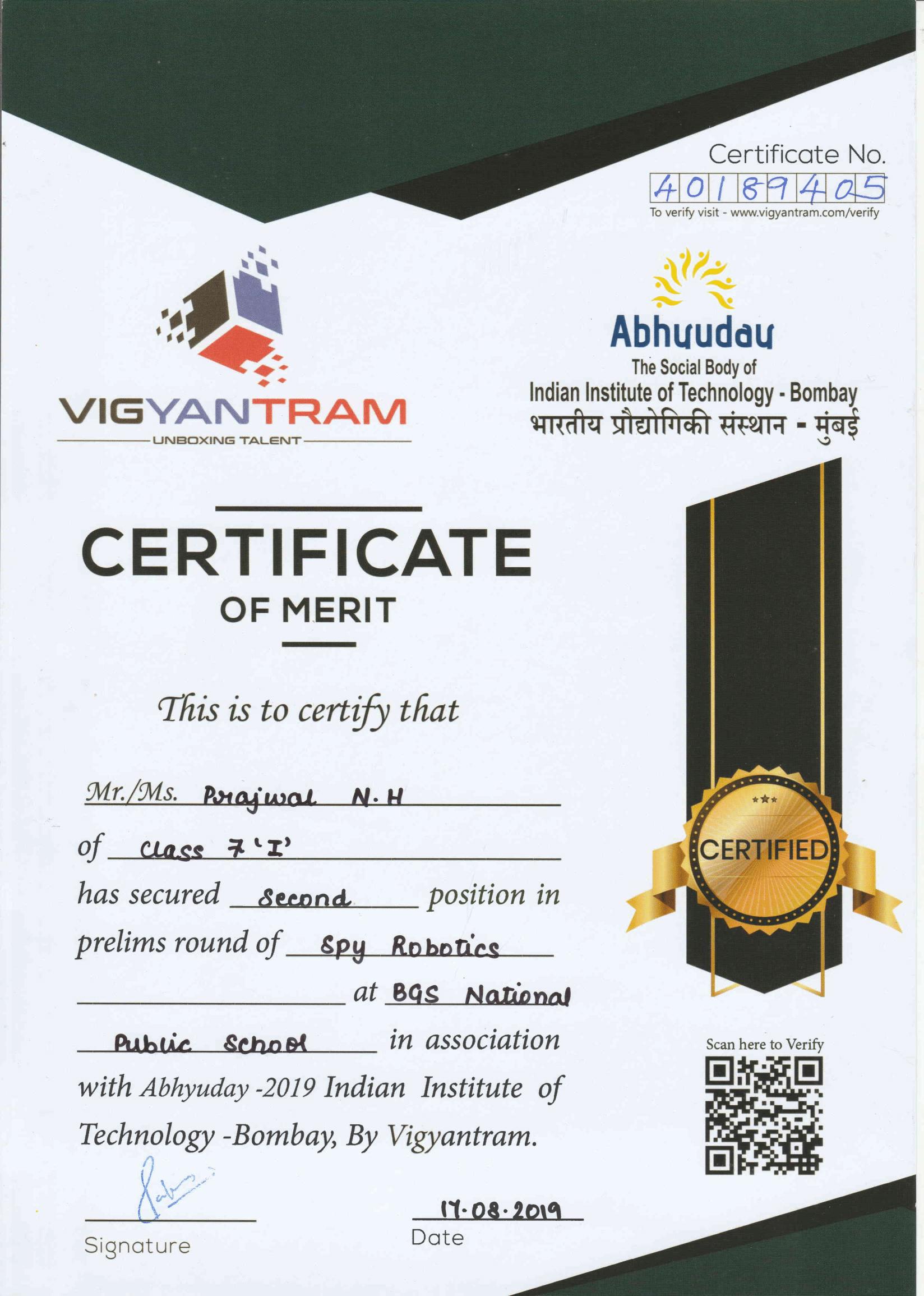 Vigyantram Merit Certificate