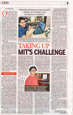 My achievement published in Times of India on 9/8/2020