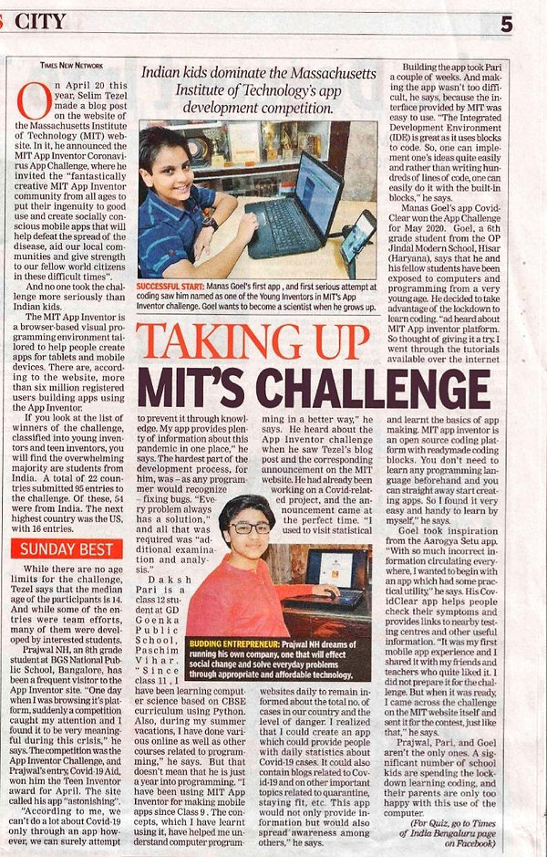 Prajwal NH Times Of India Corona Virus App Challenge winner