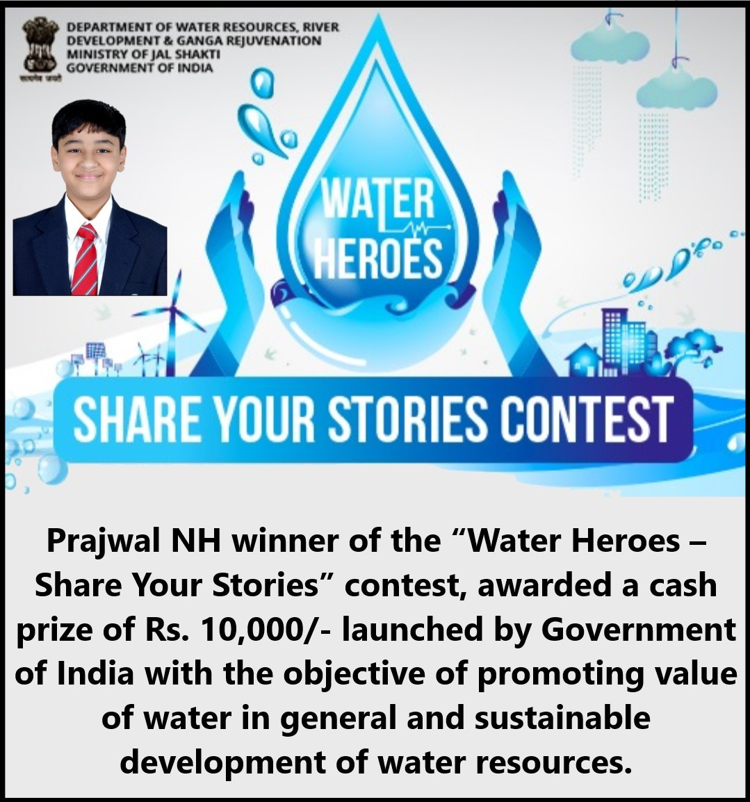 Winner of Water Heroes -Prajwal NH