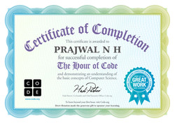 Hour of code Certificate