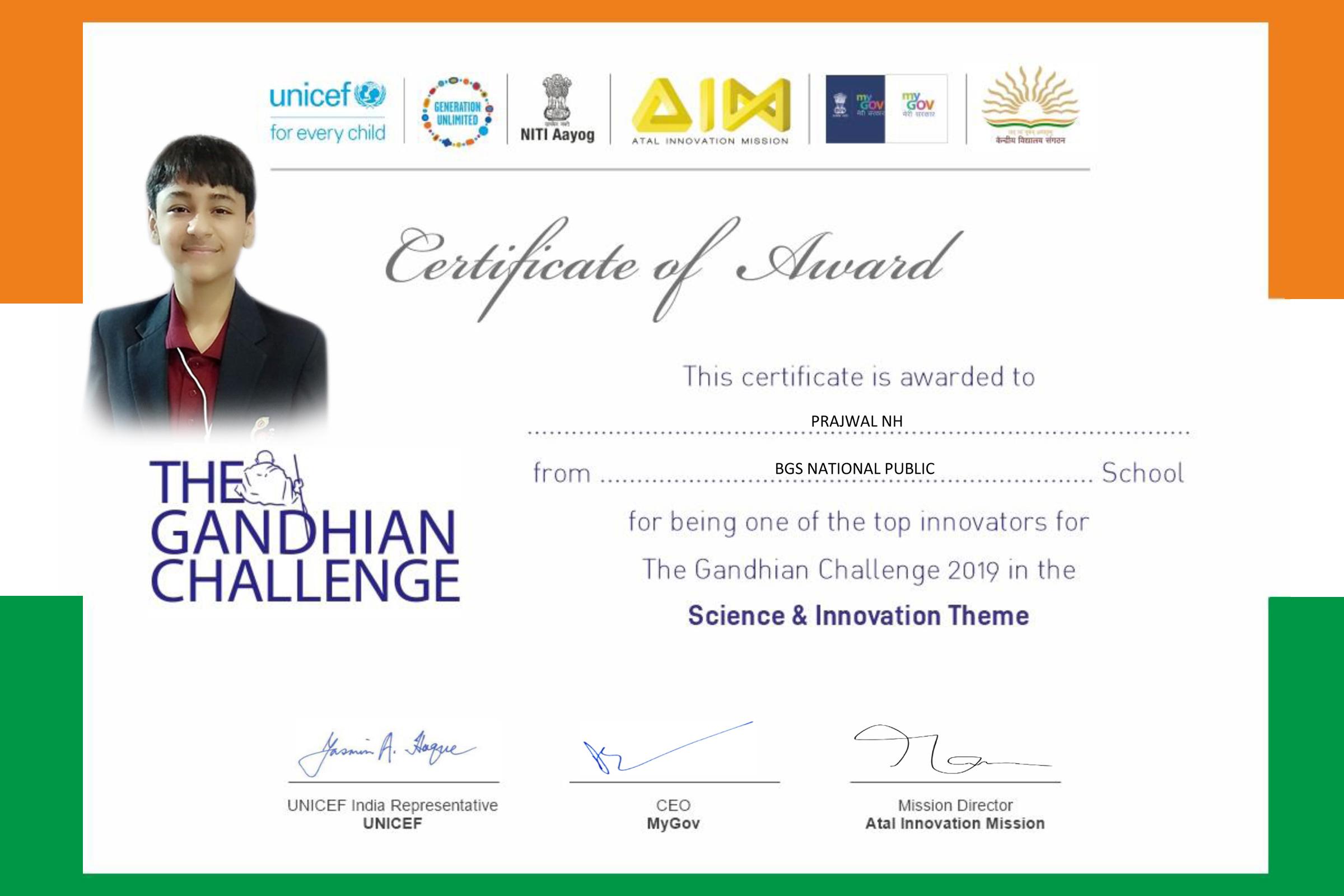 My certificate for top 30 position in the Gandhian Challenge
