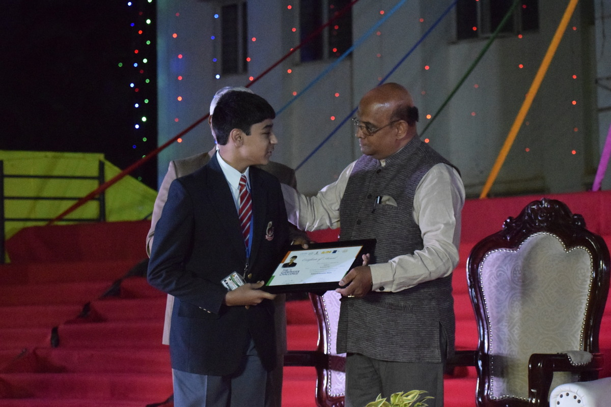 Me being Awarded at my school BGS NPS for  achieving to 30 position in the Gandhian Challenge by myg
