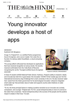Glad to share that my accomplishments are featured in the issue of 'The Hindu' NewsPaper (on 26th Se