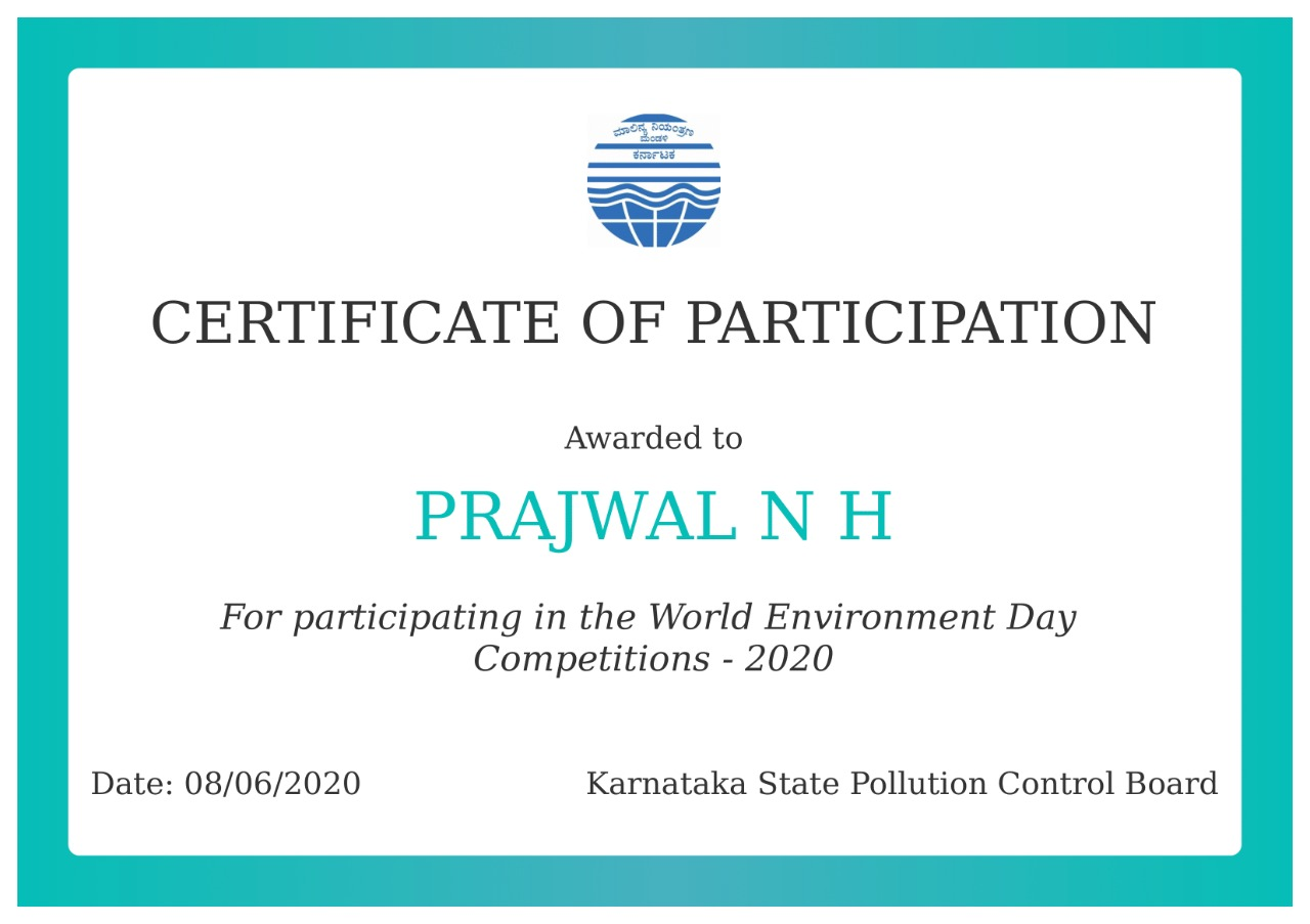 Certificate of participation in WED contest!