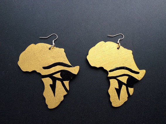 salonestarr Hand painted African Map Earrings LOVE