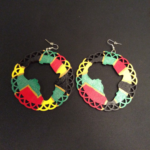 Hand Painted African Map Earrings salonestarr