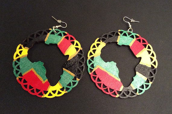 salonestarr Hand Painted African Map Earrings