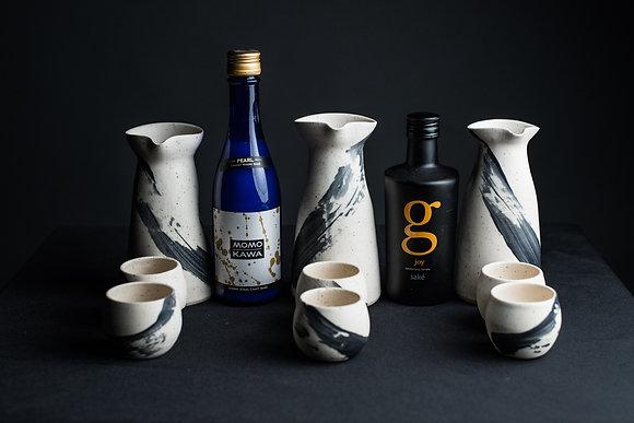 Sake Set with Pourer + 2 Cups