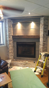 Gas Fireplace, Fireplace Mantle, Tile Preparation