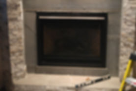 Gas Fireplace Installed, Cement Board Installed, Backer Board, Tile Preparation, Mantle Installation