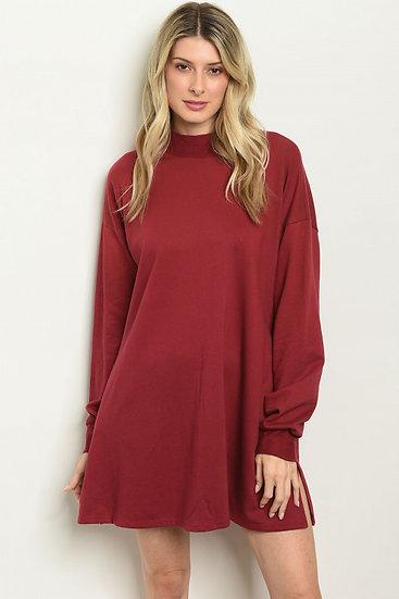 Long Sleeve Burgundy Dress
