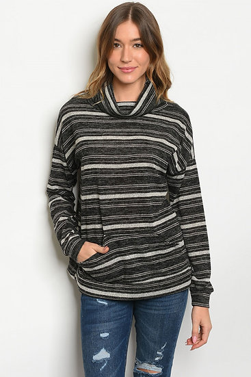 Black/Gray Striped Top